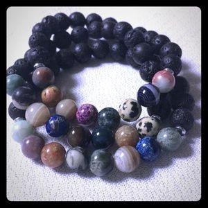 Gemstone and Lava Rock Bracelet